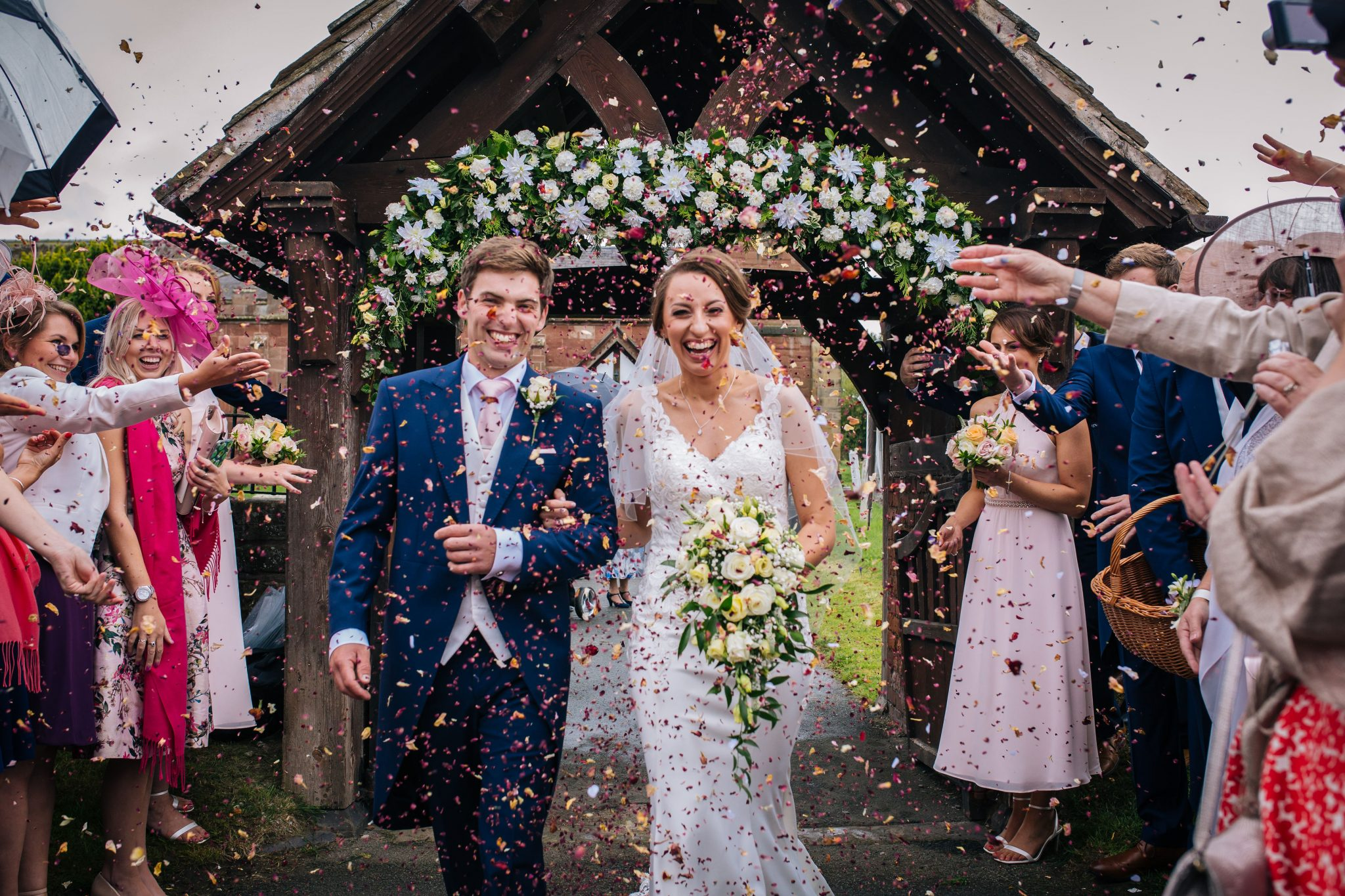 Rural Wedding Confetti photographer by Joanna Eardley